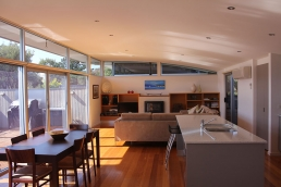 Inverloch beach house open plan living and deck for filming and photoshoots with Spaces n Places location agency